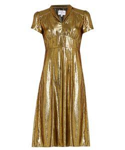 HVN   Morgan Short-Sleeved Lamé Dress