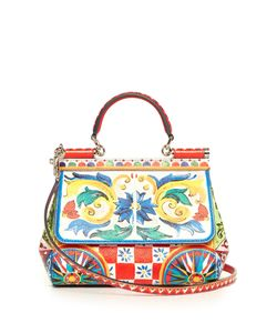 Dolce & Gabbana | Sicily Small Majolica-Print Leather Cross-Body Bag