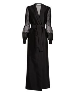 Gabriela Hearst | Jolies Sheer-Sleeve Tie-Waist Coat