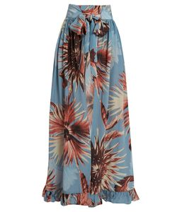Adriana Degreas | Maxi Flower-Print Silk-Crepe Skirt
