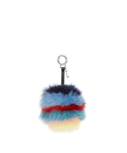 Fendi | Rainbow Pompom Fox-Fur Key Fob