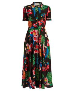 Valentino | Tropical Dream-Print Crepe De Chine Midi Dress