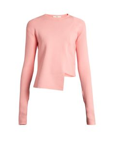 Tibi | Asymmetric Round-Neck Ribbed-Knit Sweater