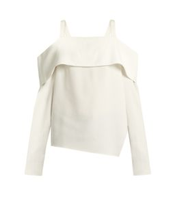 Tibi | Cold-Shoulder Asymmetric Crepe Top