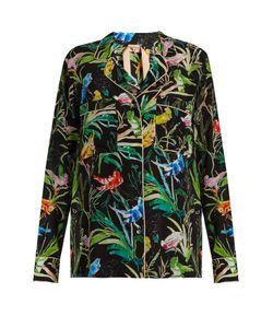 No. 21   Bird-Print Silk-Crepe Shirt