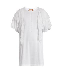 No. 21 | Ruffled-Chiffon Appliqué Cotton T-Shirt