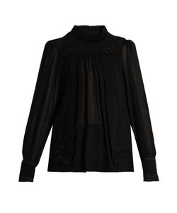 Isabel Marant | Maeva High-Neck Embroidered Silk Top