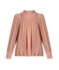 Isabel Marant | Maeva High-Neck Embroidered Silk Blouse