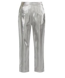 Isa Arfen   High-Rise Cropped Lamé Trousers