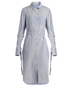 Tibi | Sleeve And Waist-Tie Striped Cotton Shirtdress