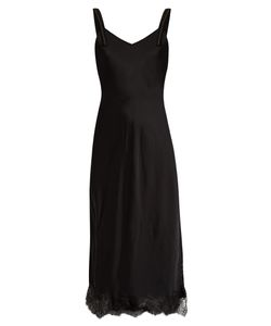 Helmut Lang | V-Neck Lace-Hem Satin Slip Dress
