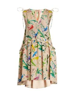 No. 21 | Bird-Print Silk-Crepe Dress