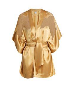 Carine Gilson | Lace-Insert Short Silk-Satin Kimono
