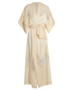 Carine Gilson | Lace-Insert Long Silk-Satin Kimono