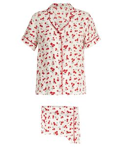 HVN | Cherry-Print Silk Pyjama Set