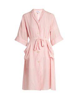 HVN   Gingham-Print Silk Kimono