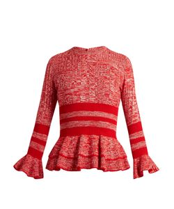 Alexander McQueen | Peplum-Hem Striped Wool And Silk-Blend Sweater