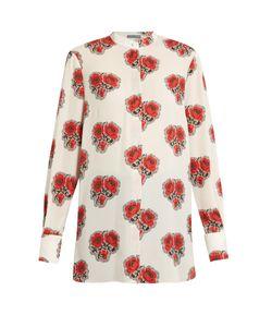 Alexander McQueen | Poppy-Print Stand-Collar Silk Blouse