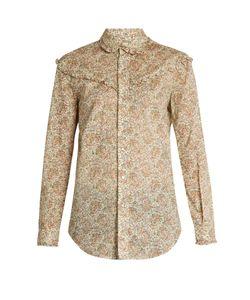 Saint Laurent | -Print Ruffled Cotton Shirt