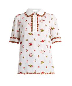 Andrew Gn | -Embroidered Silk-Blend Polo Shirt