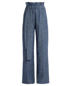 MSGM | Chambray Paperbag-Waist Wide-Leg Trousers
