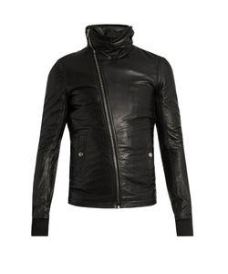 Rick Owens | Asymmetric-Zip Hooded Leather Jacket
