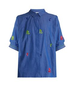 Thierry Colson | Ios Leaf-Embroidered Cotton Shirt