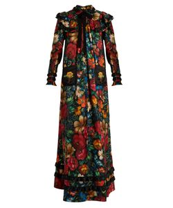 Gucci | -Print Long-Sleeved Silk Dress
