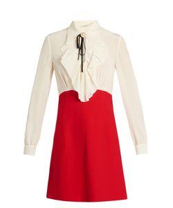 Miu Miu | Bi-Colour Ruffled Crepe De Chine Dress