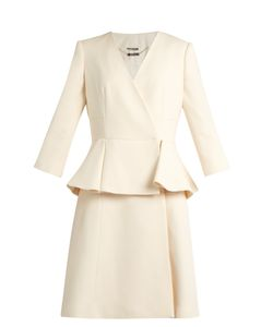 Alexander McQueen | Peplum-Waist Wool And Silk-Blend Dress
