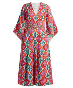 Andrew Gn | Geometric-Print V-Neck Silk Midi Dress