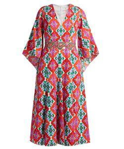 Andrew Gn | Geometric-Print V-Neck Silk Midi Dress