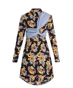 MSGM | -Print Twisted-Panel Cotton Shirtdress