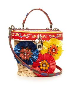 Dolce & Gabbana | Majolica-Print Leather And Wicker Basket Bag