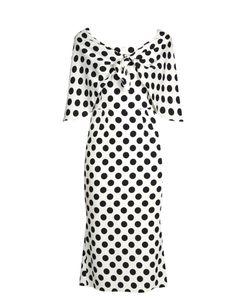 Dolce & Gabbana | Tie-Front Polka-Dot Print Charmeuse Dress