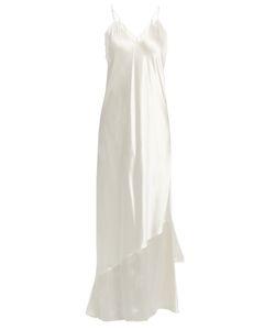 RYAN ROCHE   Asymmetric-Hem Satin Slip Dress