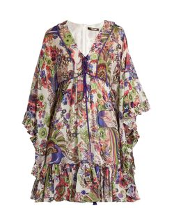Roberto Cavalli | -Print Ruffled Silk Dress