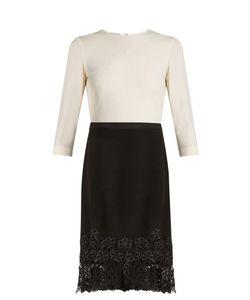 Oscar de la Renta | Bi-Colour Lace-Trimmed Wool-Blend Crepe Dress