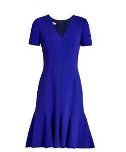 Oscar de la Renta | Flared-Hem Wool-Blend Crepe Dress