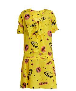 Miu Miu | V-Neck Planet-Print Crepe De Chine Dress