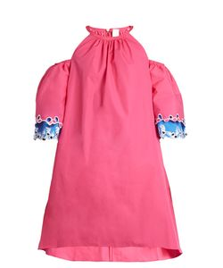 Peter Pilotto | Embroidered Cut-Out Shoulder Cotton Dress