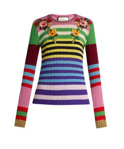 Gucci | -Appliqué Striped Wool-Blend Sweater