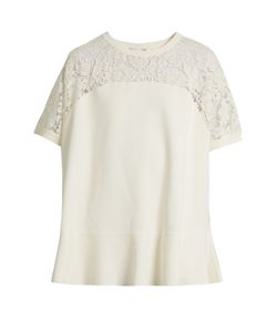 Valentino | Round-Neck Lace-Panel Sweater