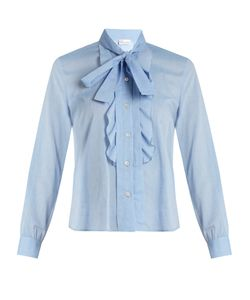 Red Valentino | Tie-Neck Cotton-Voile Shirt
