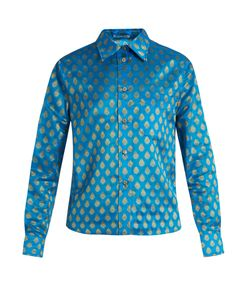 Miu Miu | Point-Collar Leaf-Jacquard Shirt