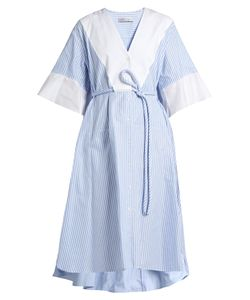 PALMER/HARDING | Flounce-Cuff Striped Cotton Shirtdress