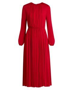 Valentino | Long-Sleeved Gathe Jersey Midi Dress