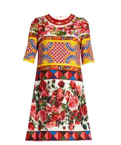 Dolce & Gabbana | Carretto-Print Textured Cotton-Blend Dress