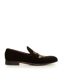 Dolce & Gabbana | Crown And Bee-Embroidered Velvet Loafers