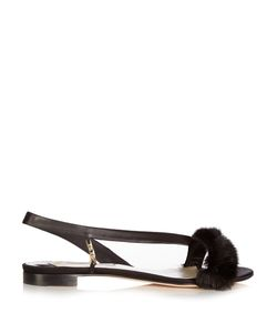 OLGANA PARIS | La Croisette Mink-Trimmed Satin Flat Sandals